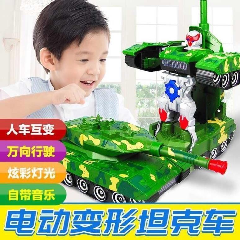 Electric automatic boy small tank aircraft cannon toy tank light music boy with music.