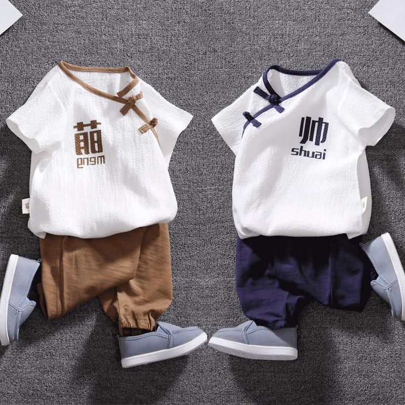 婴儿衣服男女童汉服夏装棉麻短袖套装夏季两件套中国风宝宝唐装