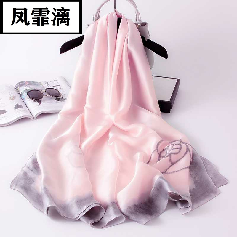 杭州丝绸丝巾女纱巾薄款长款春秋冬季春季中老年人款百搭围巾披肩