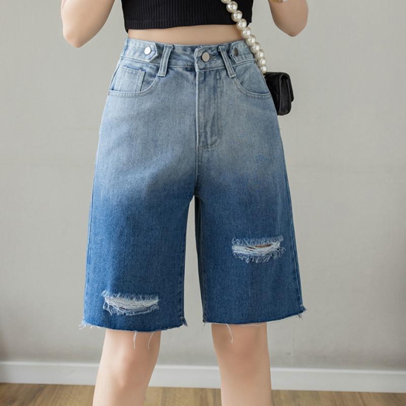 宽松阔腿直筒牛仔短裤女夏季新款修身显瘦高腰五分牛仔裤破洞中裤
