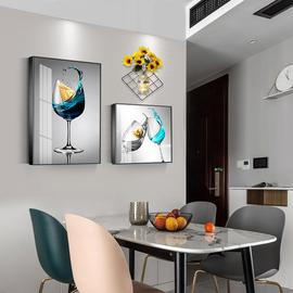 餐厅墙面装饰画厨房饭厅歺厅挂画现代简约酒杯创意花瓶铁架壁画