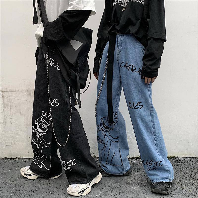 19ss self made high street graffiti printing Street jeans mopping loose daddy pants original night style men and womens ins fashion