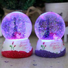 埃菲尔铁塔灯光雪花玫瑰水晶球儿童女生生情人节圣诞礼物桌面摆件图片