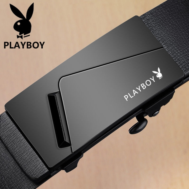 Playboy belt, mens leather, automatic buckle, inside button, young peoples belt, fashion jeans