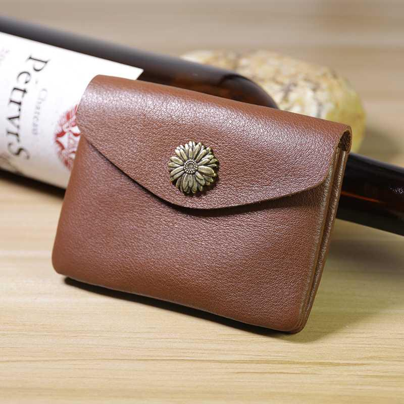 Retro hand made change bag top layer vegetable tanned cowhide coin bag men and women Mini pickup bag small purse drivers license bag