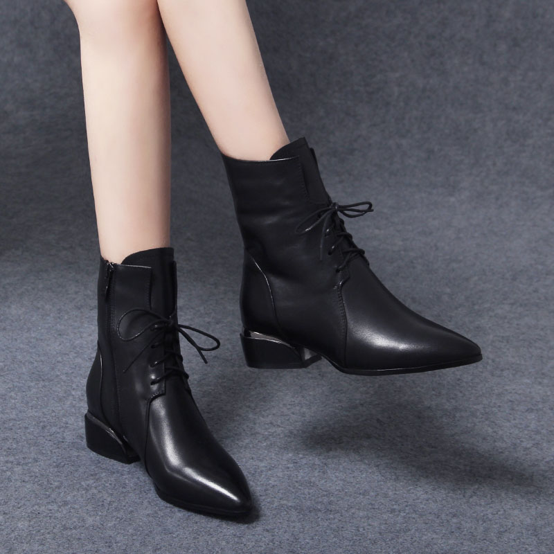 女士2021年新款马丁靴真皮中跟皮鞋好不好