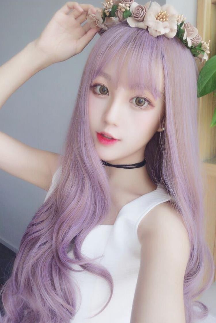 Lolita Lolita wig thin rattan air bangs long curly hair taro purple anchor makeup cos false hair