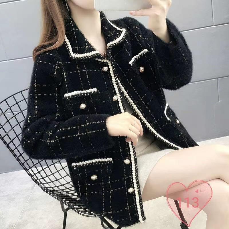 6307#韓版小香風半長款外套秋冬女爆款寬松顯瘦顯氣質青