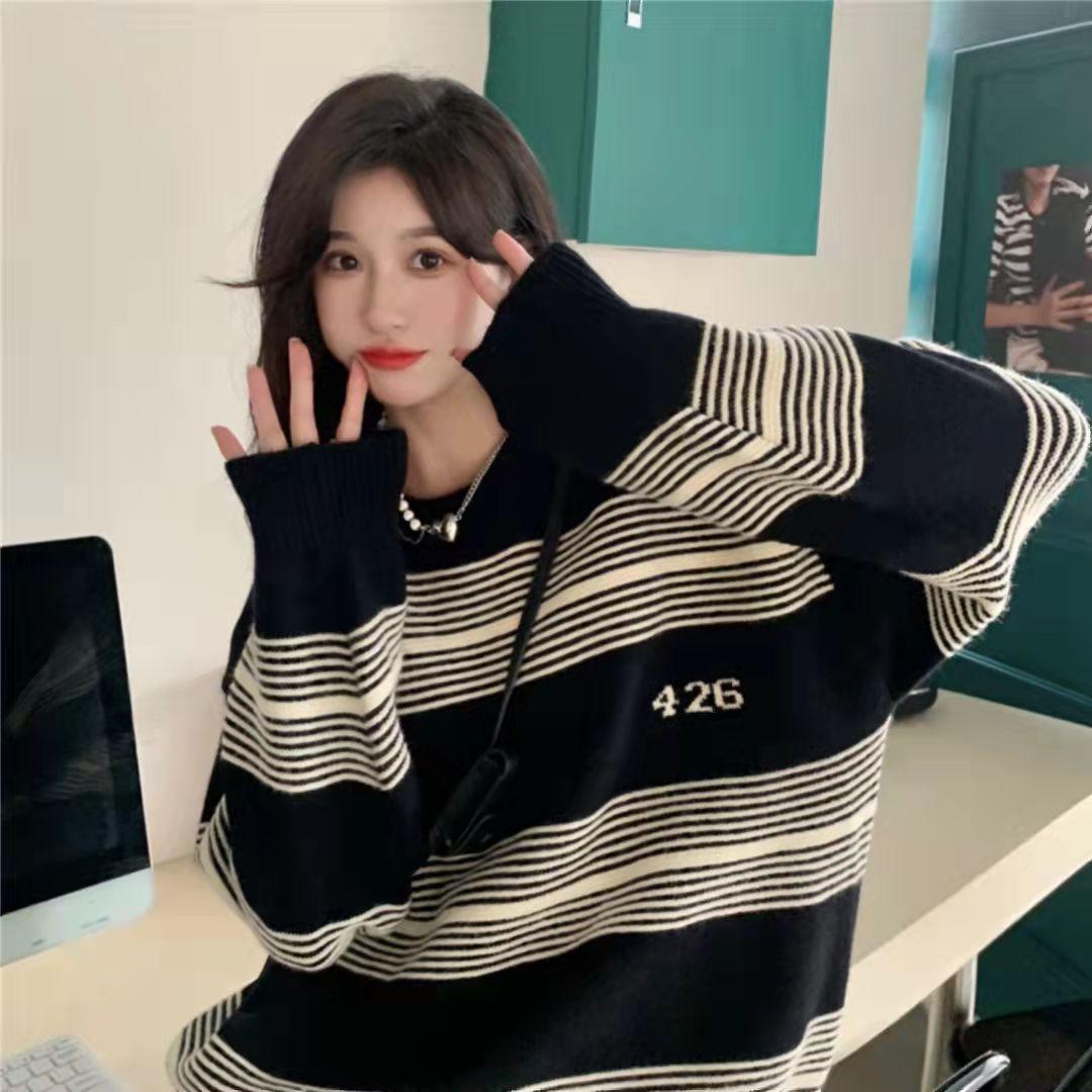 6320#加厚寬松撞色條紋毛衣女設計感慵懶風針織衫上衣ins潮