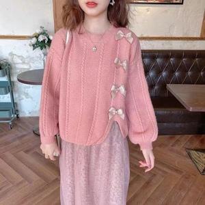 6032#甜美少女蝴蝶結圣誕新年毛衣女冬韓版紅色圓領套頭針織上衣