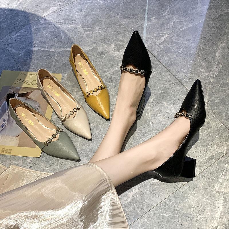 甄际2021春夏季新款女士时尚粗高跟鞋单鞋休闲生中跟软皮豆豆鞋潮