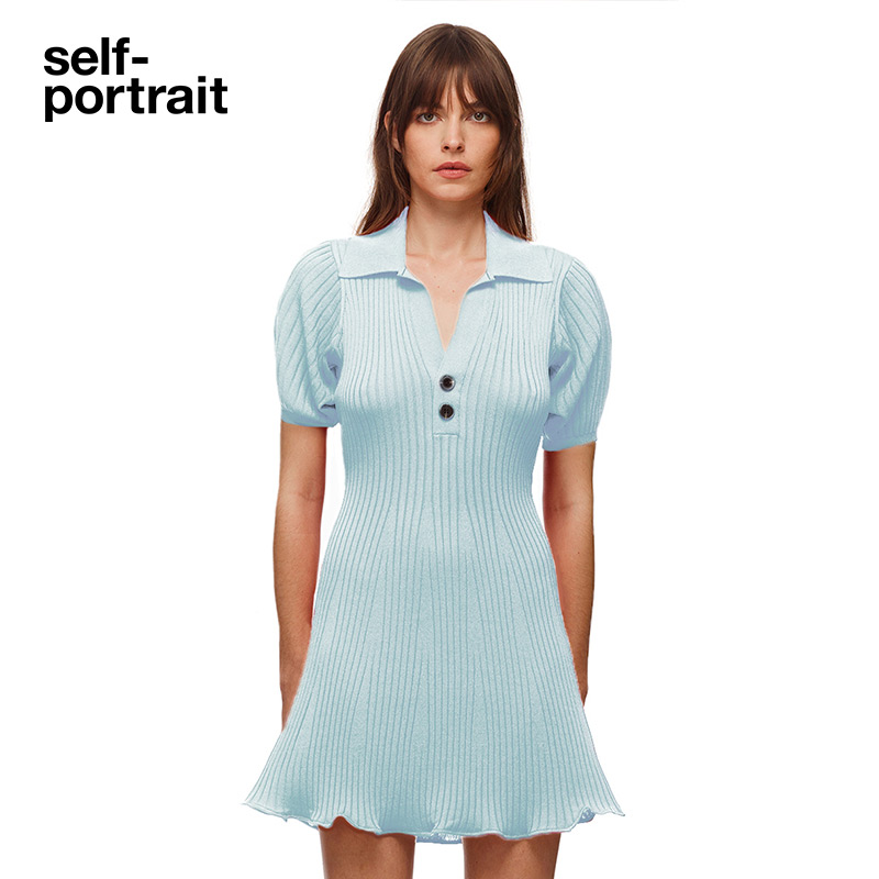 Self-portrait 2021 spring summer sky blue ribbed short-sleeved knit dress skirt