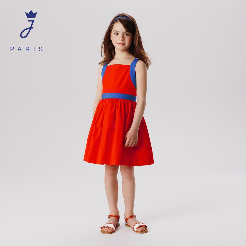 Jacadi Paris/亚卡迪21春夏新女大童时尚露背收腰连衣裙2026619