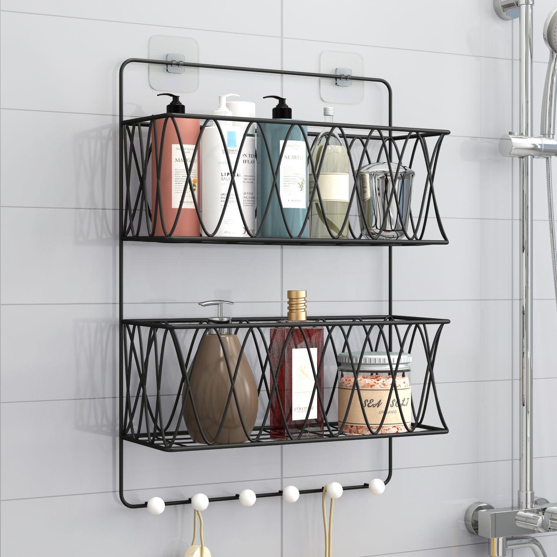 浴室免打孔置物架卧室洗漱台毛巾架卫生间洗澡间墙上收纳架壁挂式