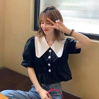2020年新款韩版法式复古泡泡袖短袖衬衫女夏设计感娃娃领短款上衣
