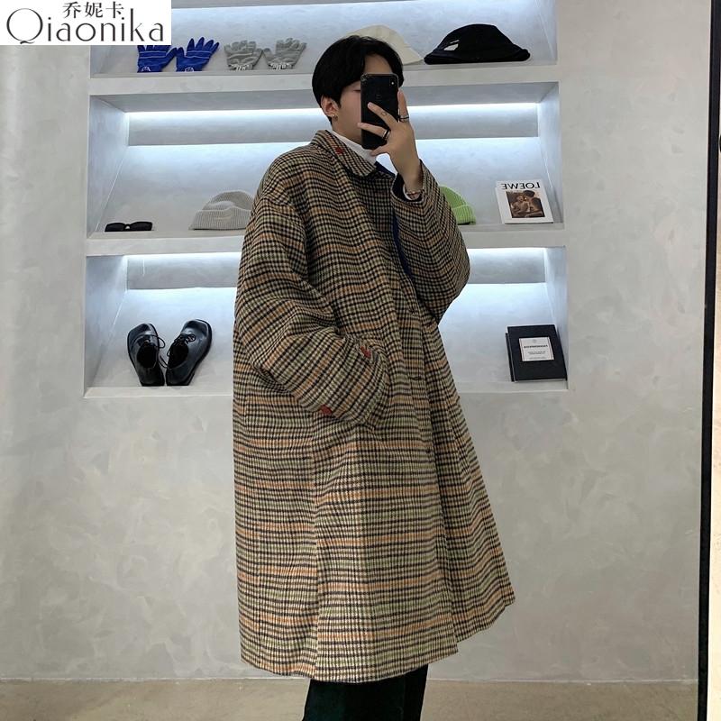 Mens tweed coat retro Hong Kong style Yuansu Polo coat MEDIUM LENGTH PLAID Plaid Li coat autumn winter England