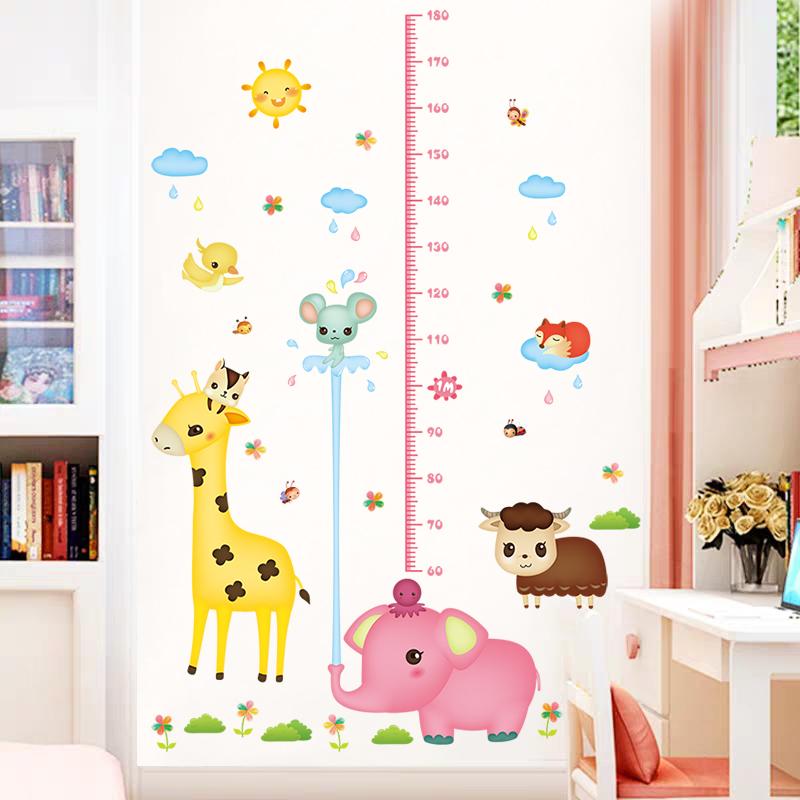 卡通儿童宝宝测量尺身高贴纸可移除3d立体自粘墙纸装饰量身高墙贴