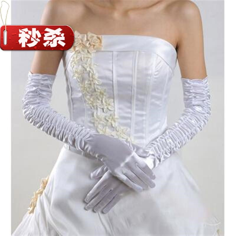 Niang wedding dress winter style Zou Long Elbow fingered g Satin performance Gloves Black o Beige white red Q