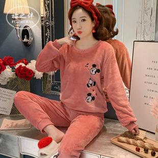 两件套秋冬季法兰绒韩版卡通睡衣女长袖套装