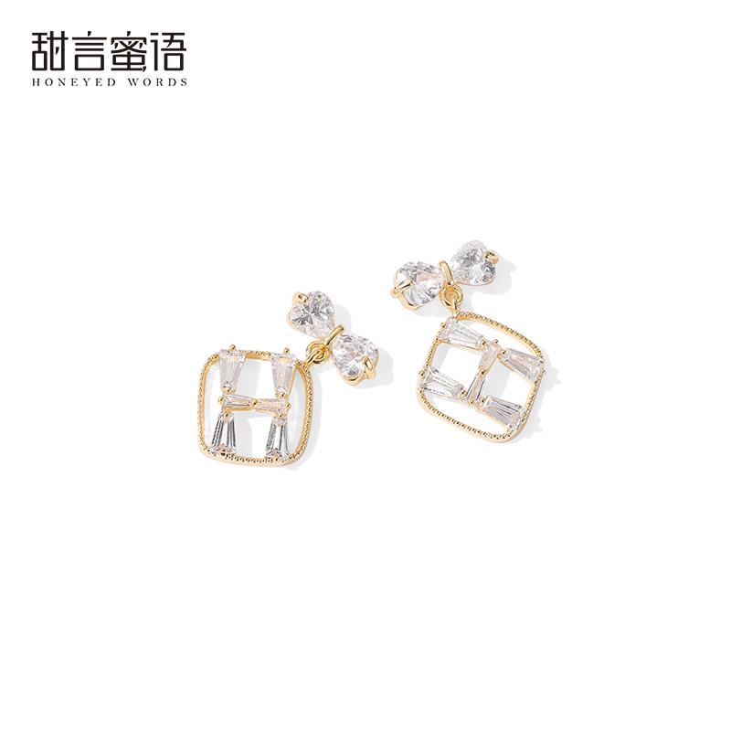 925银针甜美闪钻蝴蝶结方形耳环短款可爱气质字母耳钉耳饰流行