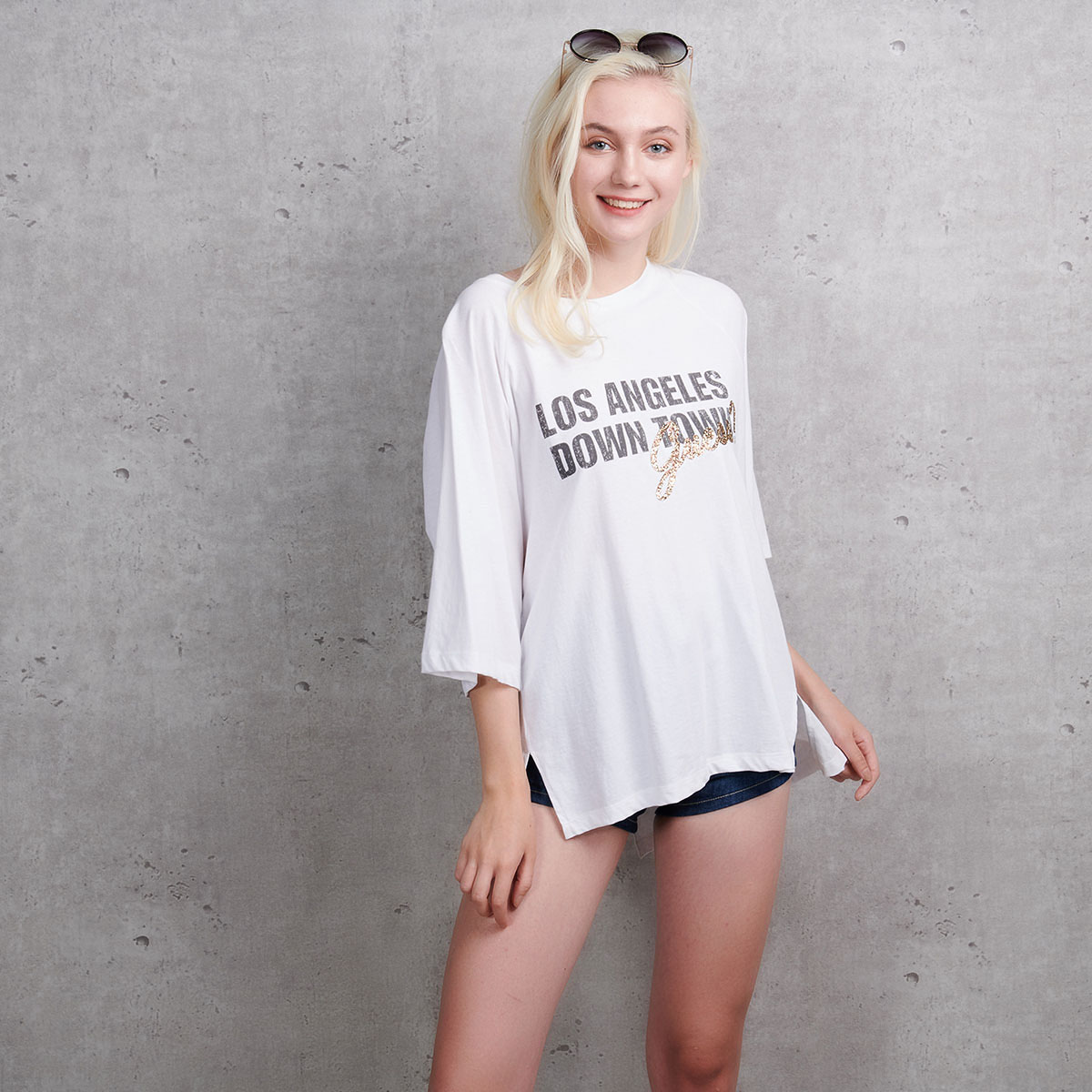 GUESS女士女装精品偏薄偏软宽松上衣短袖T恤YI2K1421-WHT