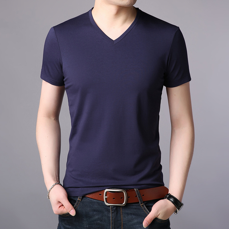 Drifter V-neck short sleeve t-shirt mens monk T-shirt cover modal T-shirt slim solid V-neck short sleeve T-shirt