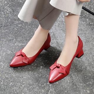 真皮单鞋女2020新款中跟浅口软皮女鞋夏季百搭红色小皮鞋粗跟瓢鞋