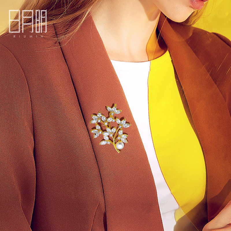Forest fresh natural fresh water pearl alloy full diamond inlaid Leaf Brooch with suit Brooch
