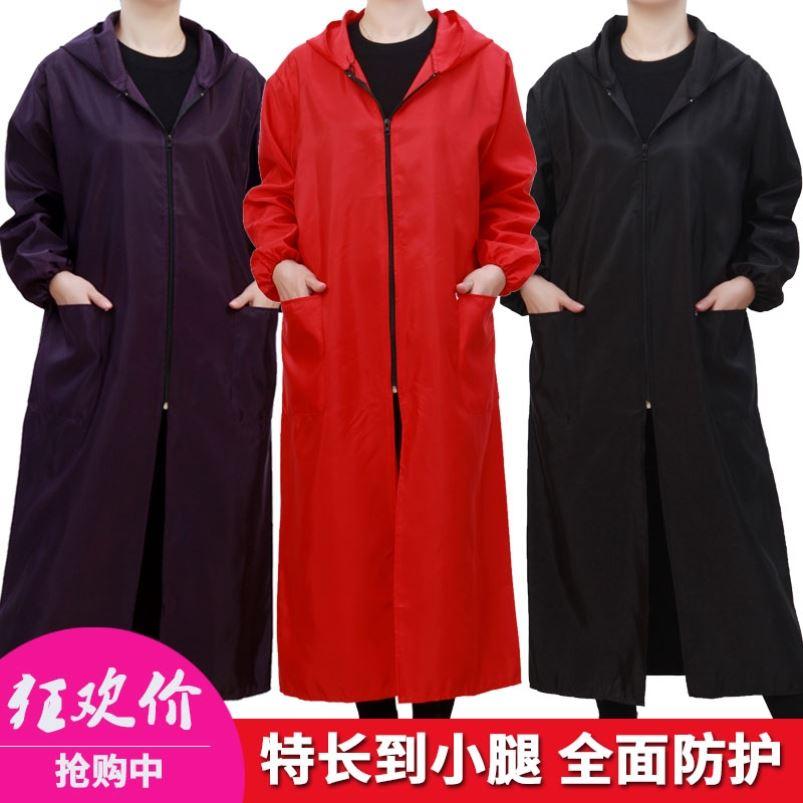 冬季加长款过膝罩衣外套女大人加绒面加厚时尚羽绒服护衣外穿红色