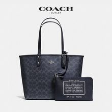 Coach / couchi women's signature logo old flower double sided City Tote Bag single shoulder bag shopping bag black