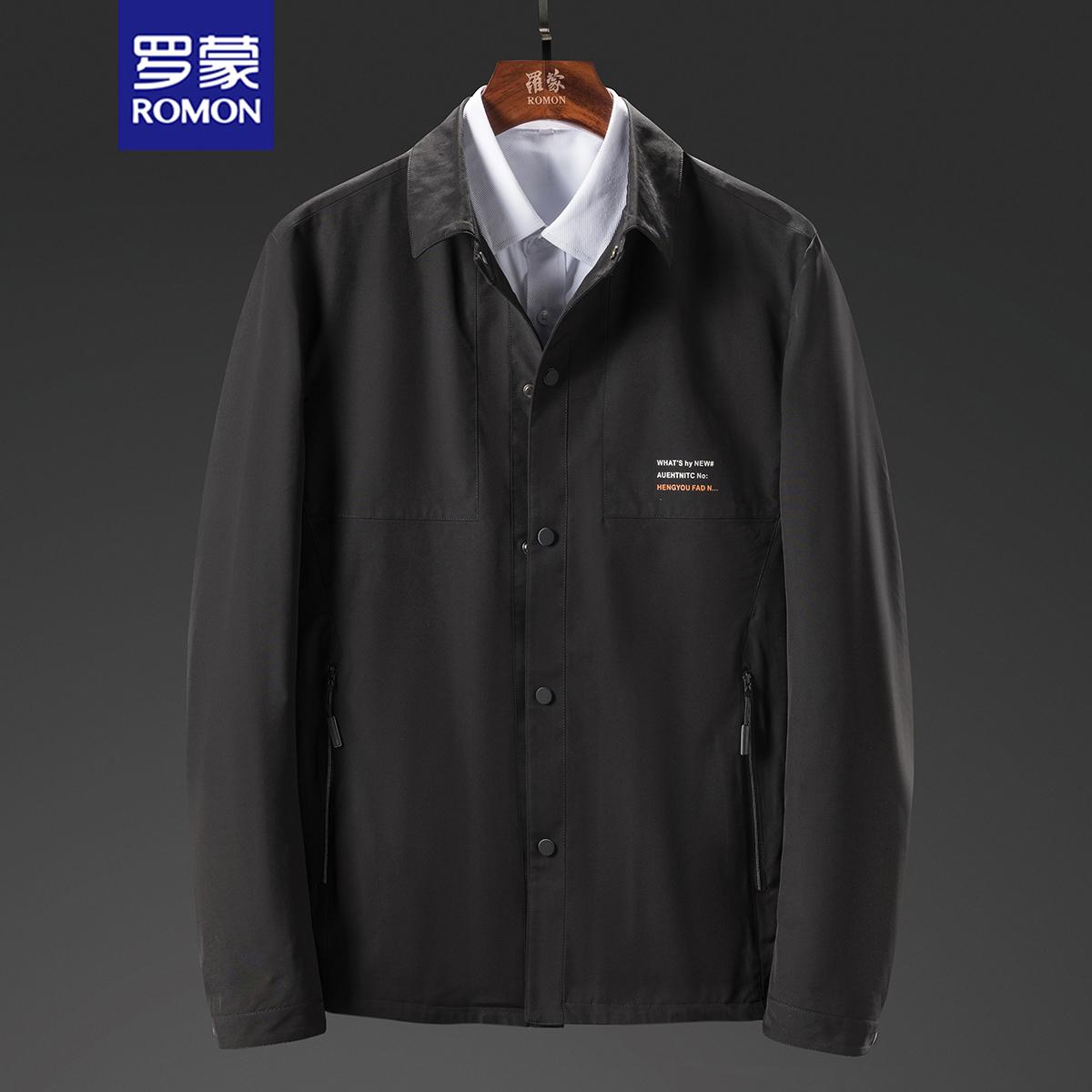 Romon mens solid color fashion jacket casual coat sports baseball collar mens coat 88m2069