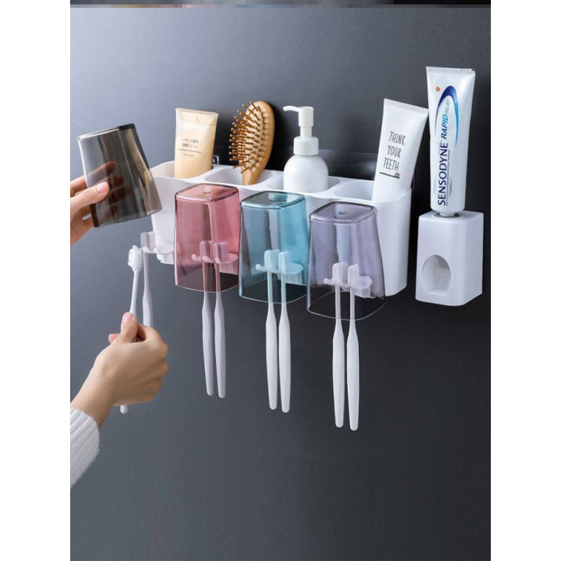 Toothbrush teeth cup shelf to place fixed ceramic tile traceless patch back glue easy to buckle the personality belt of Japanese tooth cover