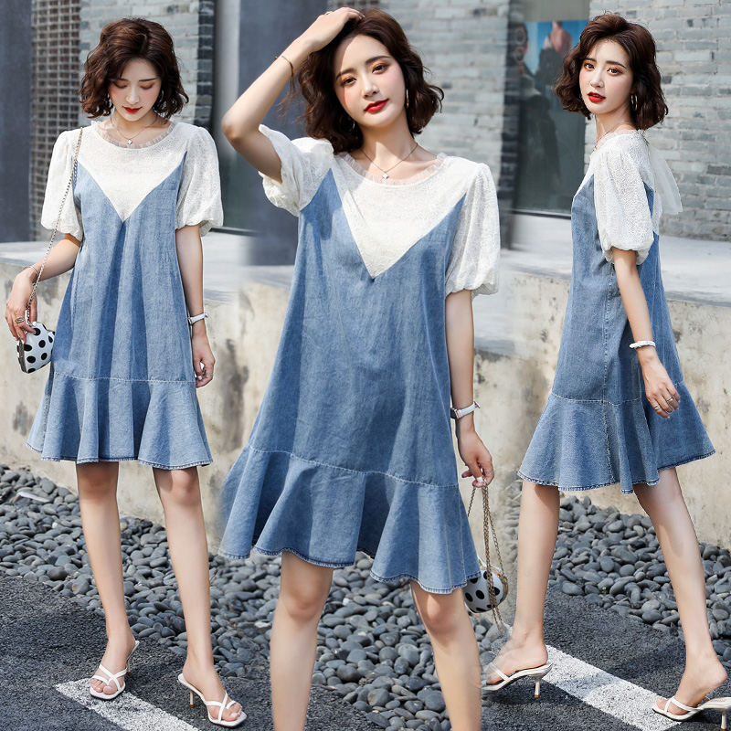 Loose cover meat lace bubble sleeve denim dress for women summer junior small fish tail A-line fake two piece dress
