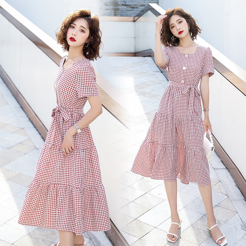 Jiangnan rainy season 8213 authentic 2020 summer new Korean casual loose comfortable Plaid Dress