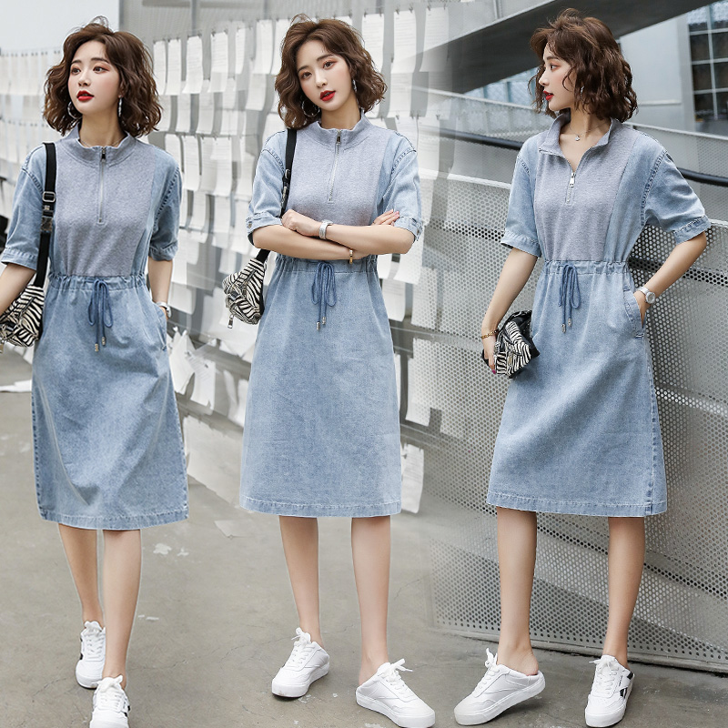 Denim dress womens thin style summer 2020 new Korean style reduced age lace up waist drawstring half sleeve skirt