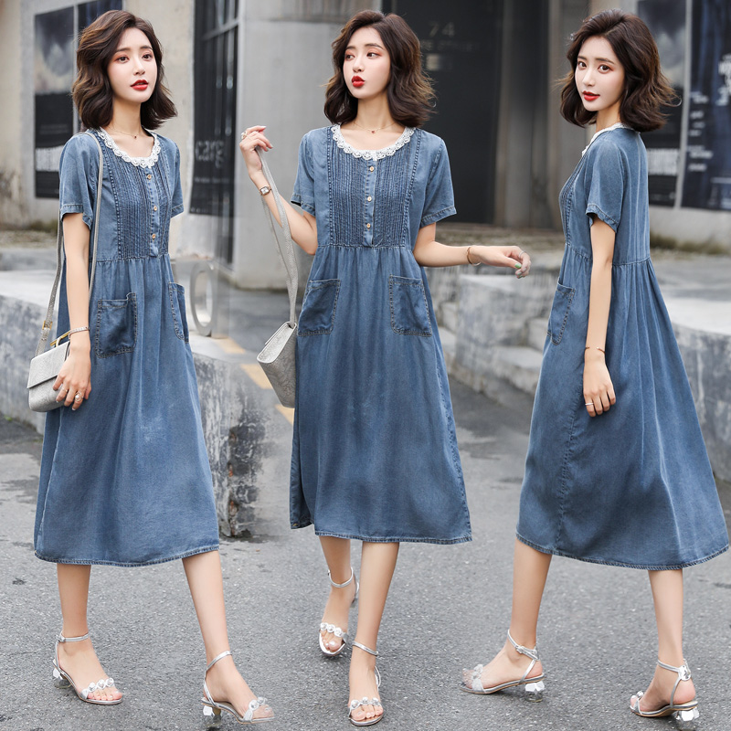 Casual A-line dress women 2020 new summer dress large size Korean loose fashion lace splicing denim skirt