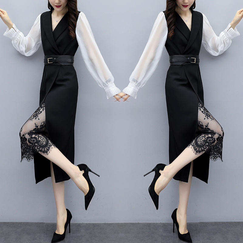 Summer 2020 new ol white collar professional womens temperament dress bottom lace short skirt belt long sleeve