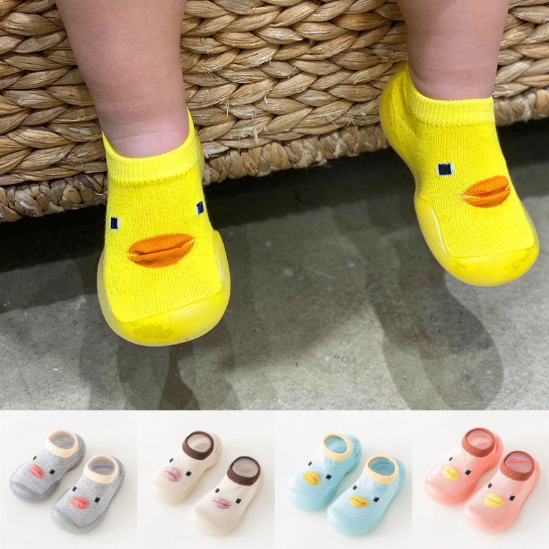 春秋婴儿地板袜鞋防滑软底硅胶可爱小鸭子儿童袜子鞋室内学步袜鞋
