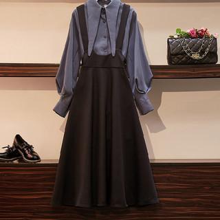 大码女装2020秋季新款胖mm宽松洋气遮肚子显瘦时尚减龄背带裙套装