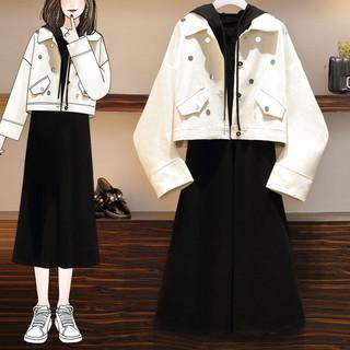 大码女装早秋装新款洋气显瘦外套连衣裙微胖妹妹减龄时尚两件套装