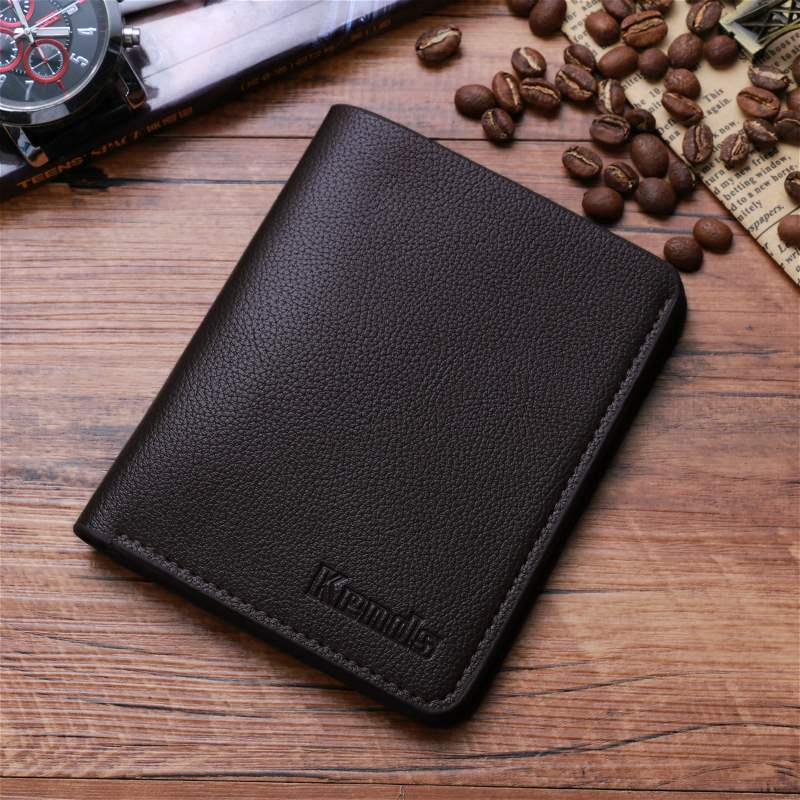 Ultra thin Mini Wallet mens short youth vertical personalized wallet mens Korean student simple soft wallet fashion