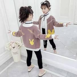 女童毛衣开衫外套秋装2019新款韩版中大儿童水貂绒洋气春秋针织衫