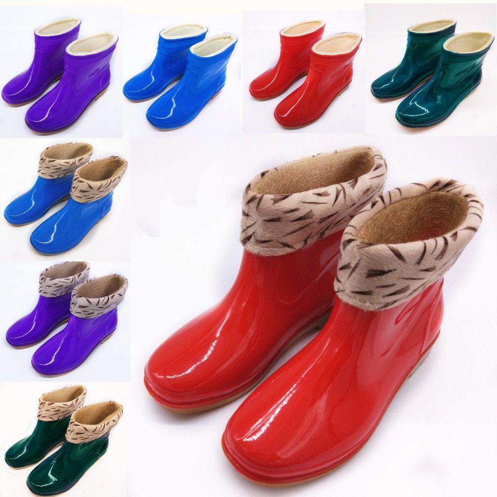 Package post autumn and winter factory direct selling Plush warm rain shoes womens rain boots short tube rain shoes kitchen waterproof womens antiskid