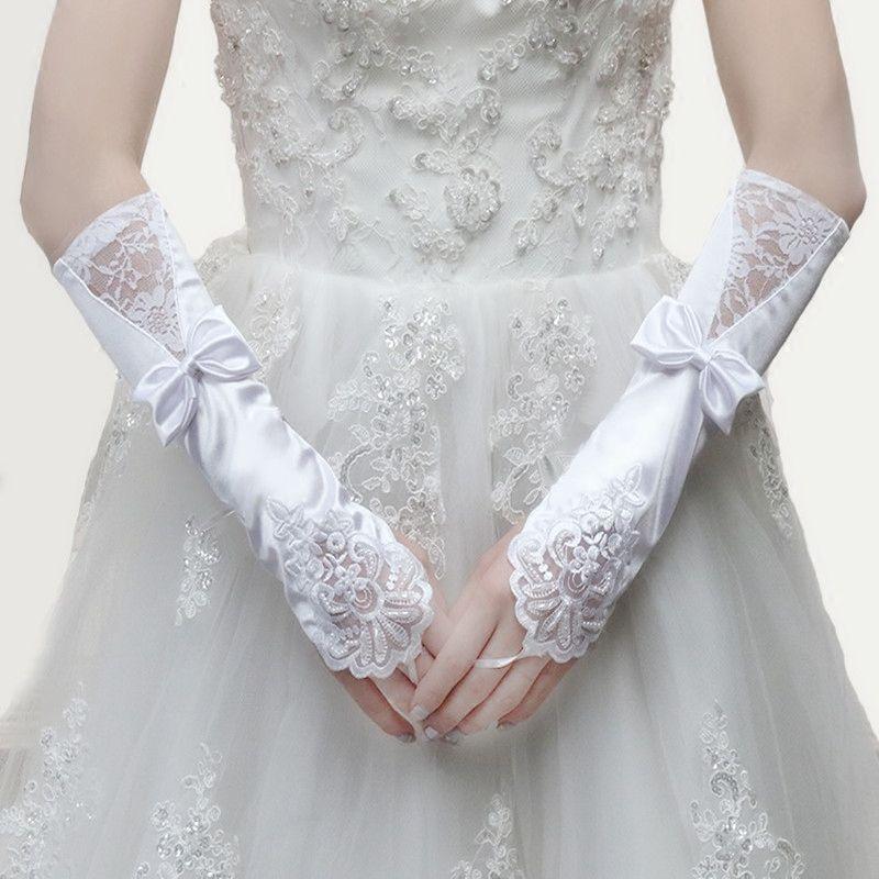 韩式开车短款缎面手套女薄款蕾丝夏天宫廷网纱套袖红色新娘绣花手