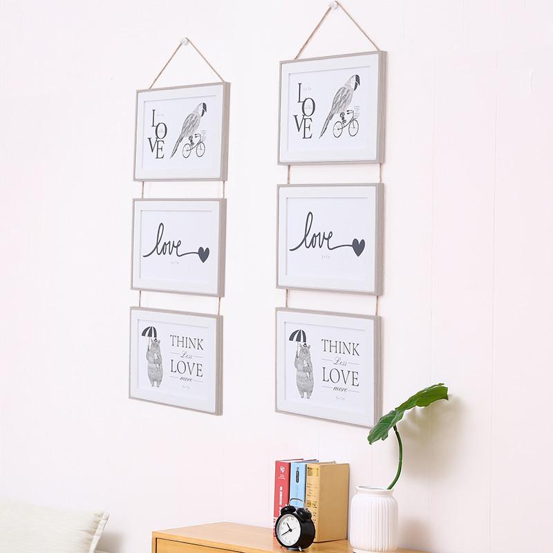 创意简约ins6寸7寸北欧相框挂墙组合连体三联相框壁挂时尚装饰