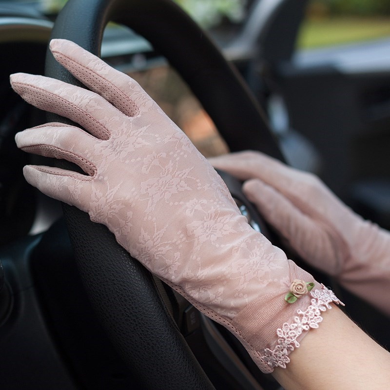 Bicycle lace sleeve perspective sunscreen Lace Gloves retro thin cotton spring and summer driving large sexy artifact outdoor