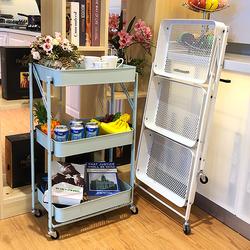 免安装移动小推车厨房折叠置物架落地宜家用婴儿零食带轮收纳架子