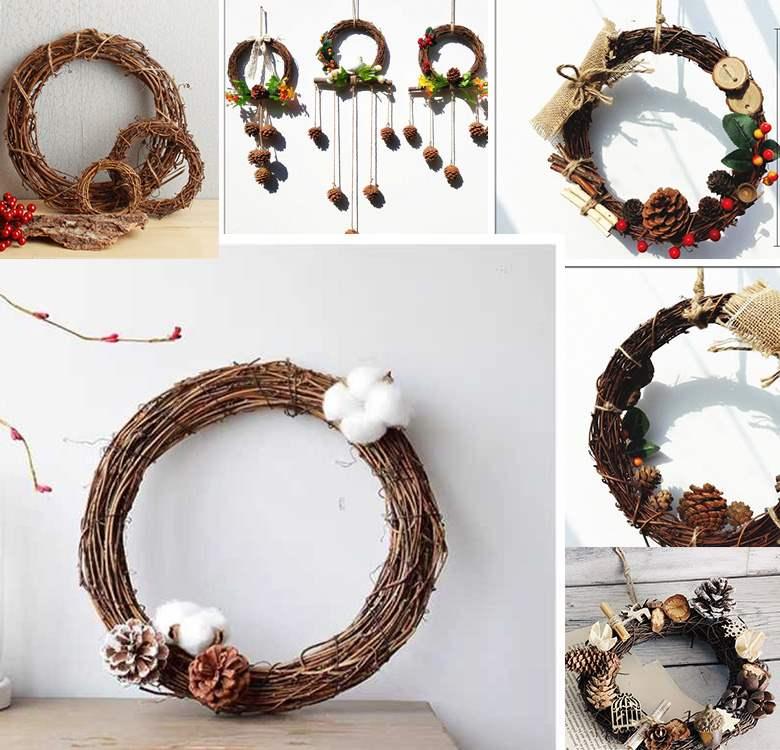 Christmas Handmade materials 3 Moris Retro pastoral craft dry branch rattan ring DIY decoration dry flower kindergarten wreath