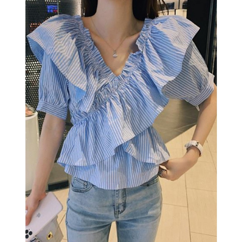 Blue Striped Ruffle Top 2020 new Korean summer short sleeve V-neck shirt womens design feel waist down