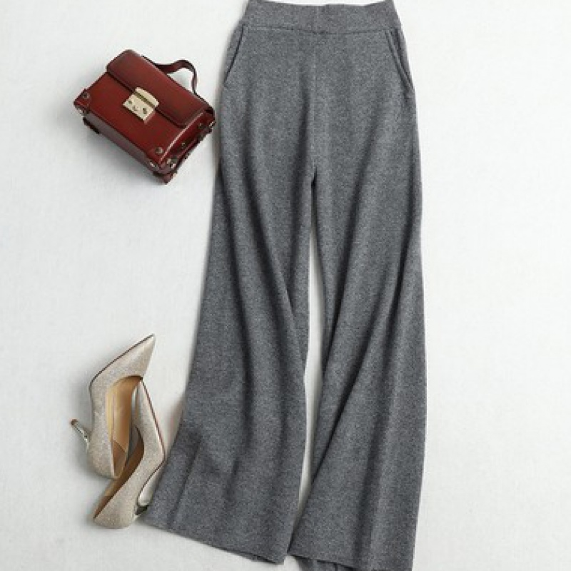 Cashmere wide leg pants for women in autumn and winter